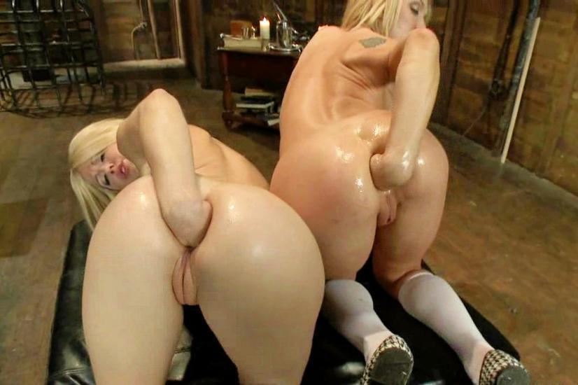 Hot blondes striped girls